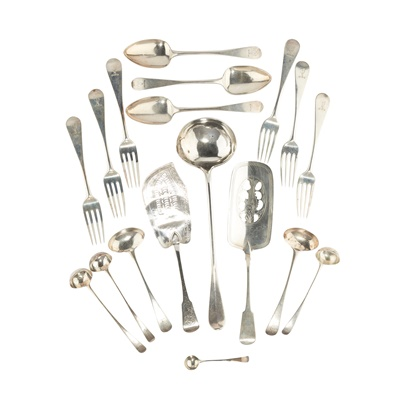 Lot 218 - A COLLECTION OF GEORGE III OLD ENGLISH FLATWARE