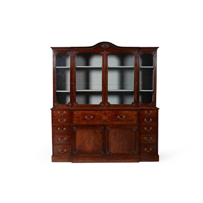 Lot 136 - GEORGE III MAHOGANY AND INLAID BREAKFRONT SECRETAIRE BOOKCASE