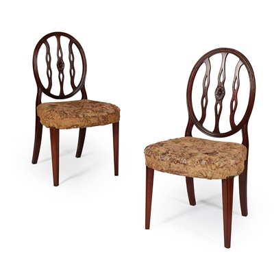 Lot 217 - PAIR OF GEORGE III STAINED BEECH AND MAHOGANY SIDE CHAIRS