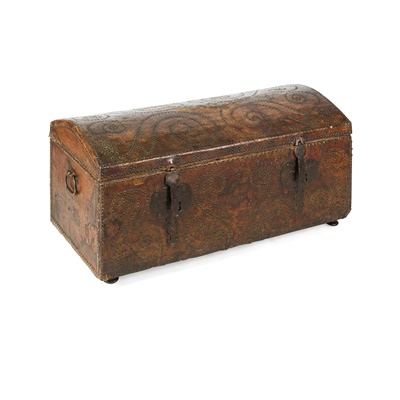 Lot 51 - LEATHER AND BRASS STUDDED DOME TOP TRUNK