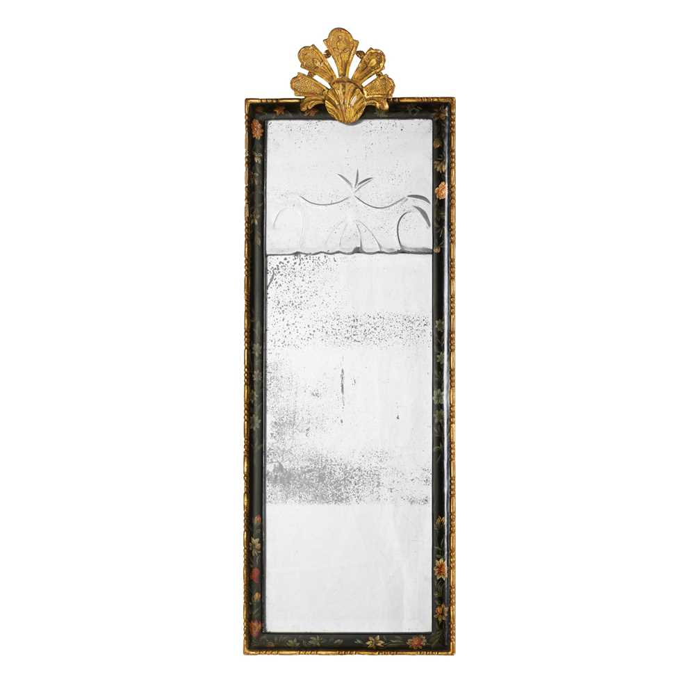 Lot 52 - WILLIAM AND MARY STYLE SMALL EBONISED AND GILT MIRROR