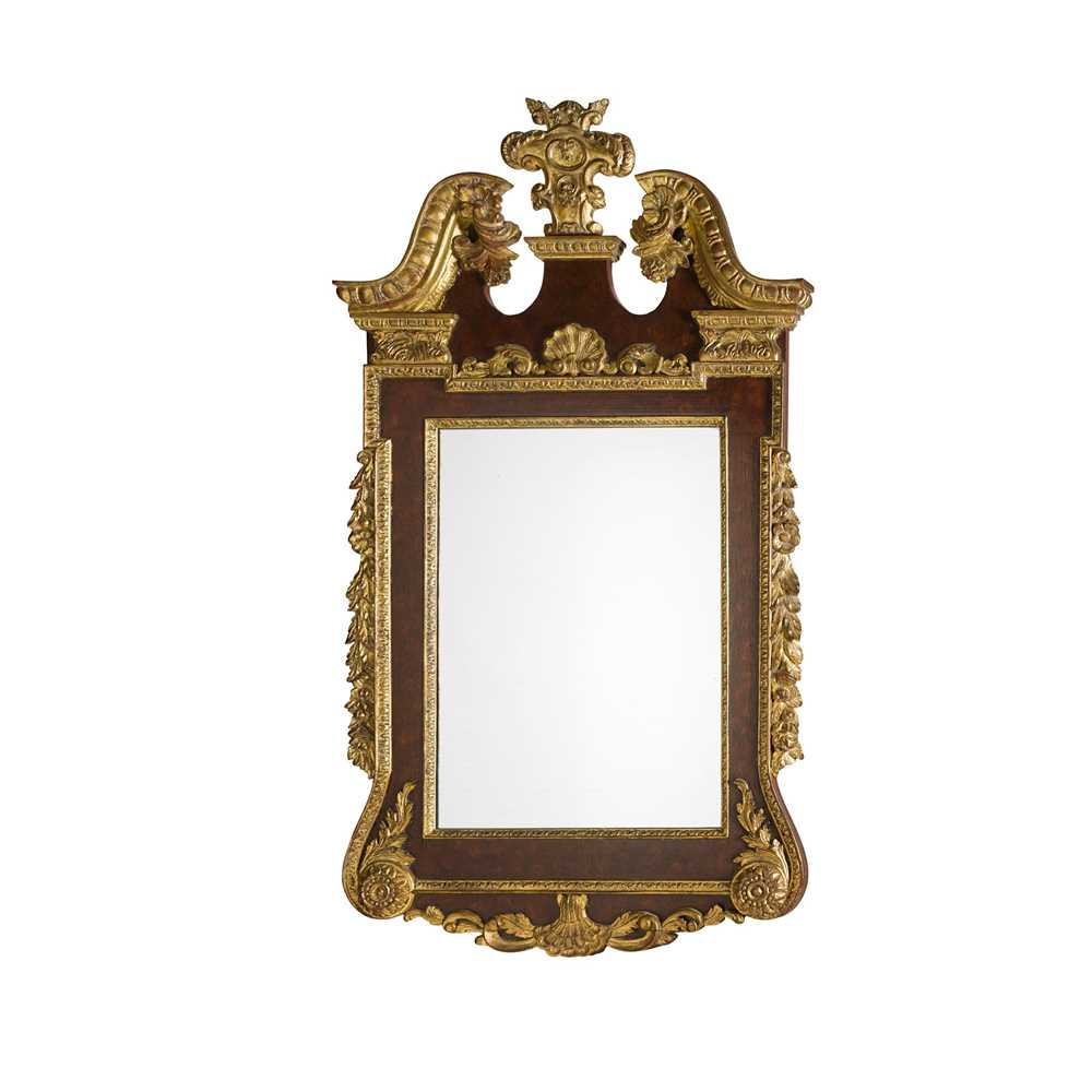 Lot 86 - GEORGIAN STYLE STAINED MAHOGANY AND GILTWOOD MIRROR
