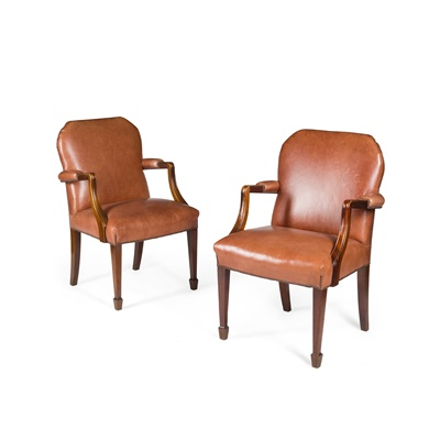 Lot 135 - PAIR OF LEATHER UPHOLSTERED MAHOGANY OPEN ARMCHAIRS