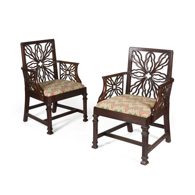 Lot 118 - PAIR OF GEORGE III STYLE MAHOGANY ARMCHAIRS