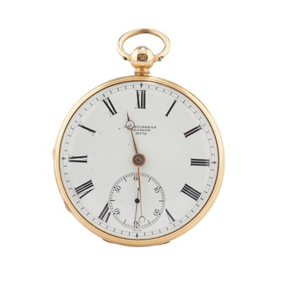 Lot 245 - AN 18CT GOLD CHASED OPEN FACE FOB WATCH