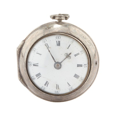 Lot 244 - A LATE 18TH CENTURY SILVER PAIR CASED VERGE POCKET WATCH