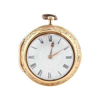Lot 248 - A MID 18TH CENTURY GOLD PAIR CASED VERGE WATCH