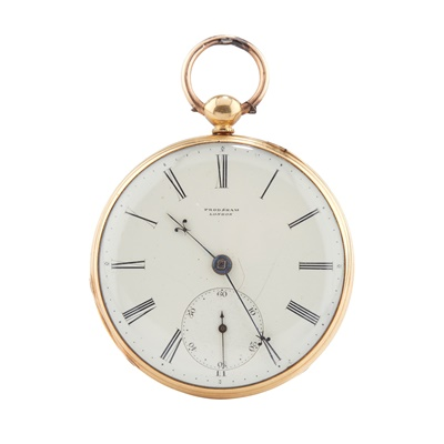 Lot 246 - AN 18CT GOLD CASED POCKET WATCH