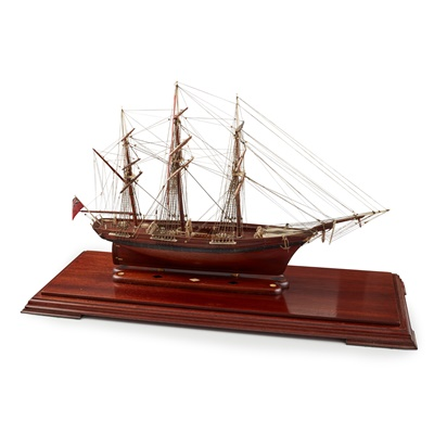 Lot 306 - FINE FRENCH PRISONER-OF-WAR MAHOGANY AND BONE MODEL OF A BARQUE