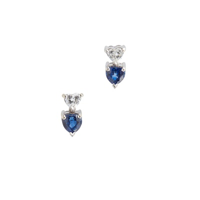 Lot 8 - A pair of 18ct white gold sapphire and diamond set earrings