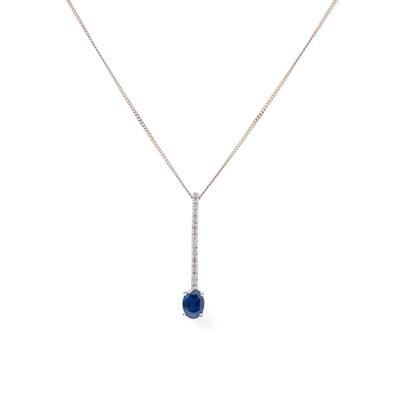 Lot 9 - A sapphire and diamond set pendant