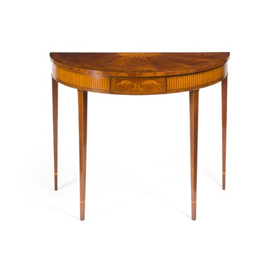 Lot 114 - GEORGE III STYLE MAHOGANY AND INLAID DEMI-LUNE TABLE