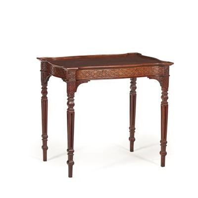 Lot 112 - GEORGE III STYLE MAHOGANY TEA TABLE