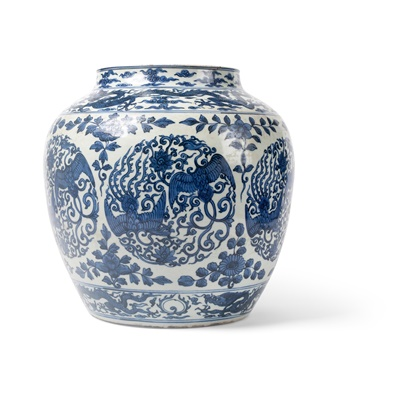 Lot 160 - BLUE AND WHITE 'DRAGON AND PHOENIX' JAR