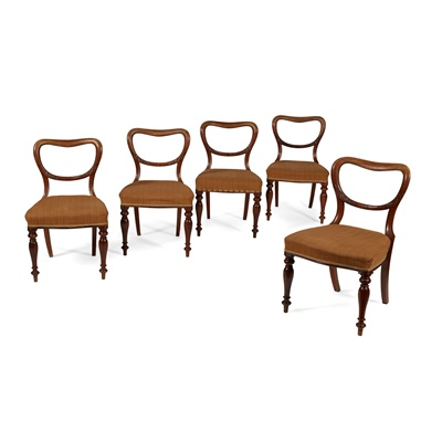 Lot 210 - SET OF FIVE VICTORIAN MAHOGANY BALLOON BACK DINING CHAIRS