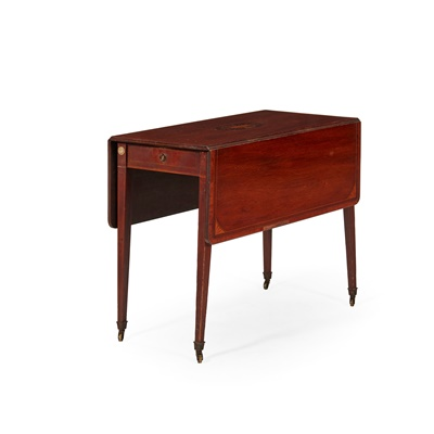 Lot 205 - VICTORIAN MAHOGANY AND SATINWOOD INLAID DROP-LEAF TABLE, BY EDWARDS & ROBERTS