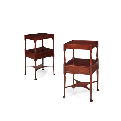 Lot 204 - PAIR OF GEORGE III STYLE MAHOGANY BEDSIDE TABLES