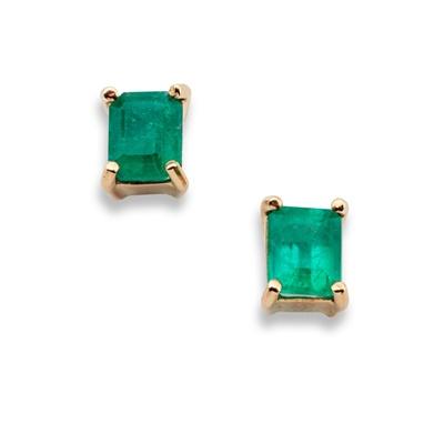 Lot 98 - A pair of emerald earrings