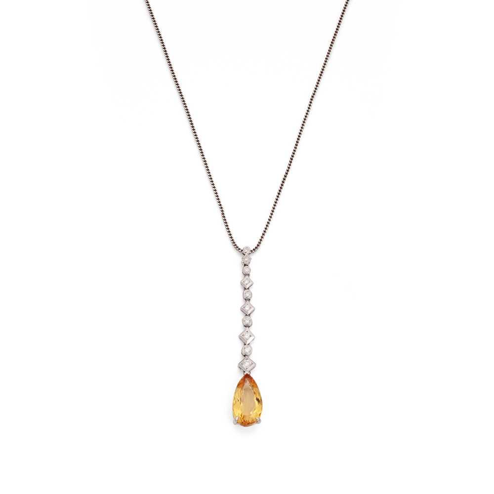 Lot 27 - A topaz and diamond pendant