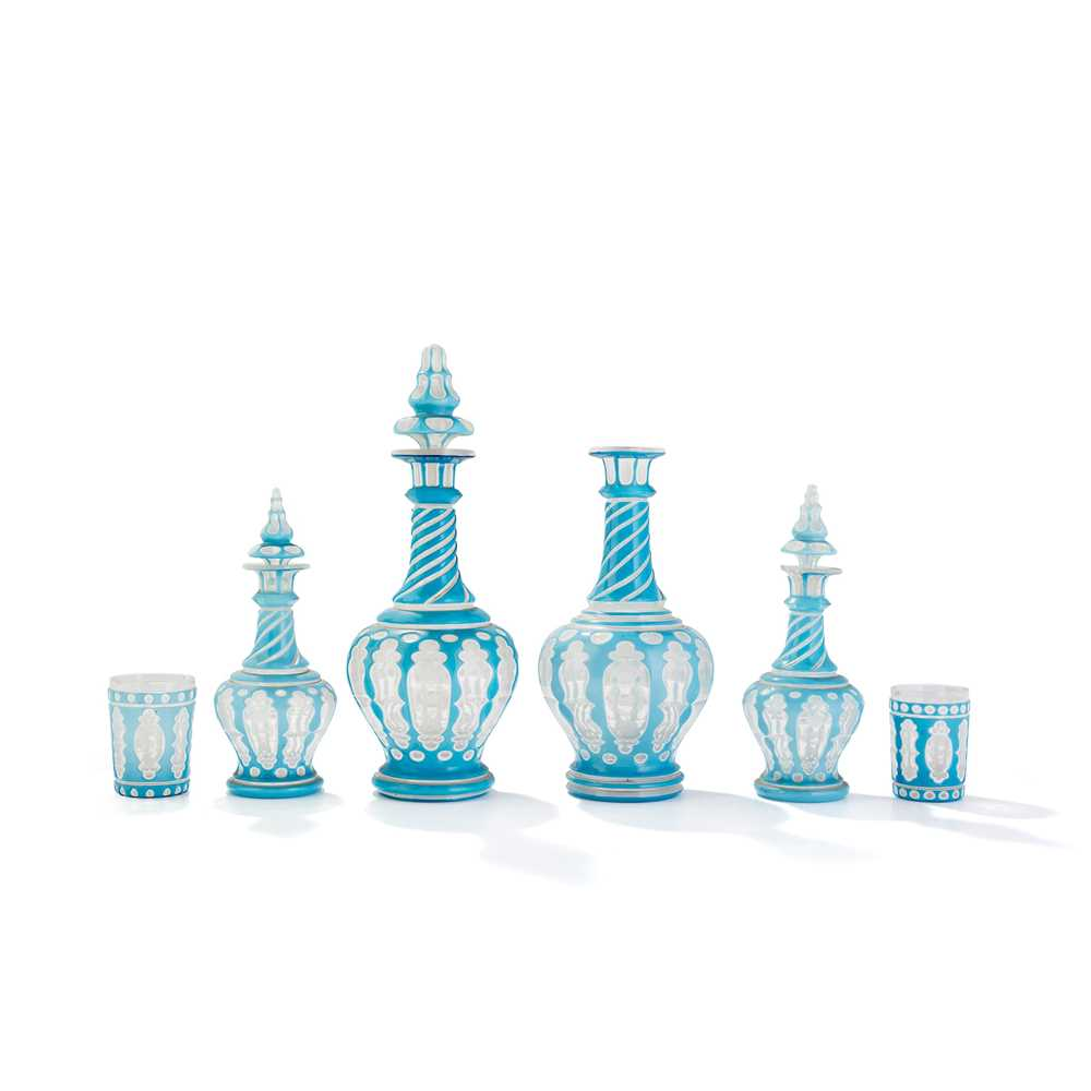 Lot 21 - GROUP OF FOUR BOHEMIAN OVERLAY GLASS DECANTERS