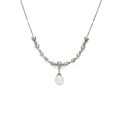 Lot 120 - An early 20th century natural pearl and diamond necklace