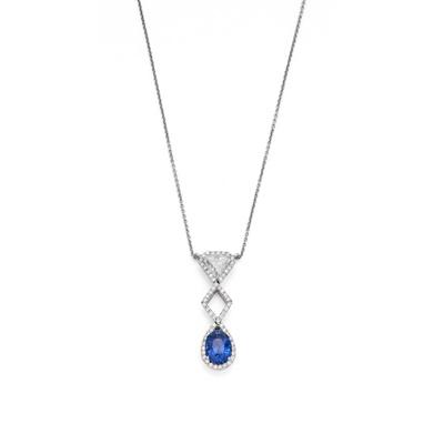 Lot 10 - A sapphire and diamond pendant necklace