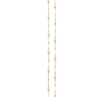 Lot 54 - A cultured pearl-set longchain