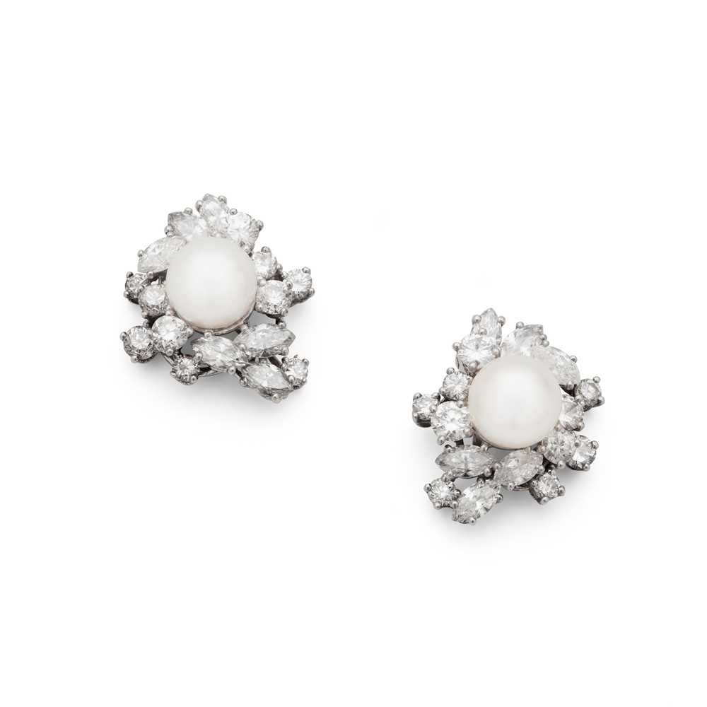 Lot 89 - A pair of cultured pearl and diamond earrings, by Chaumet