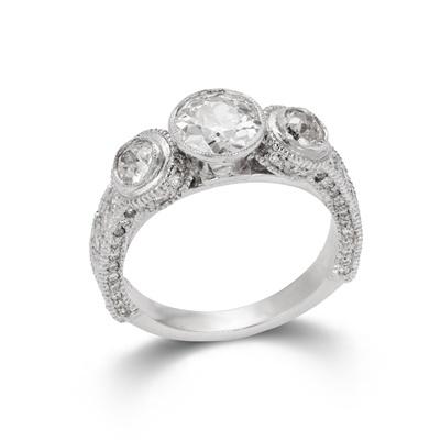 Lot 63 - A diamond three-stone ring