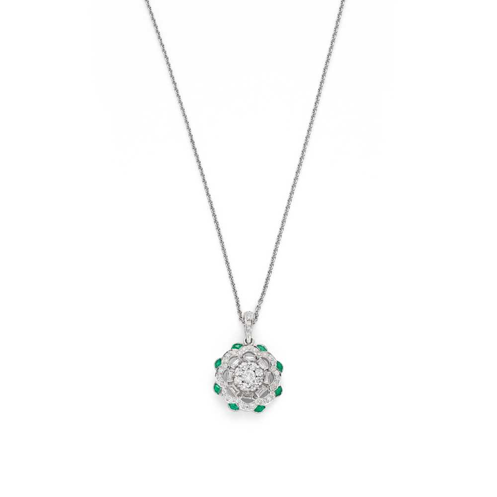 Lot 64 - An emerald and diamond pendant