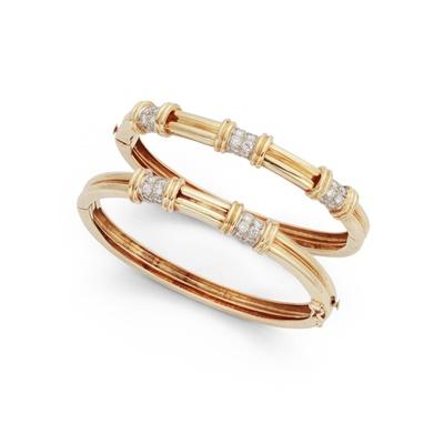 Lot 97 - A pair of diamond-set bangles