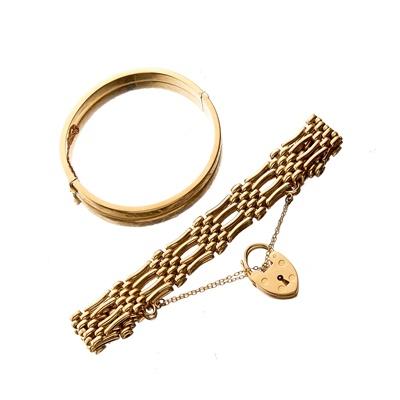 Lot 112 - A 9ct gold gate link bracelet