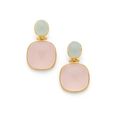 Lot 114 - A pair of rose quartz and aquamarine earrings