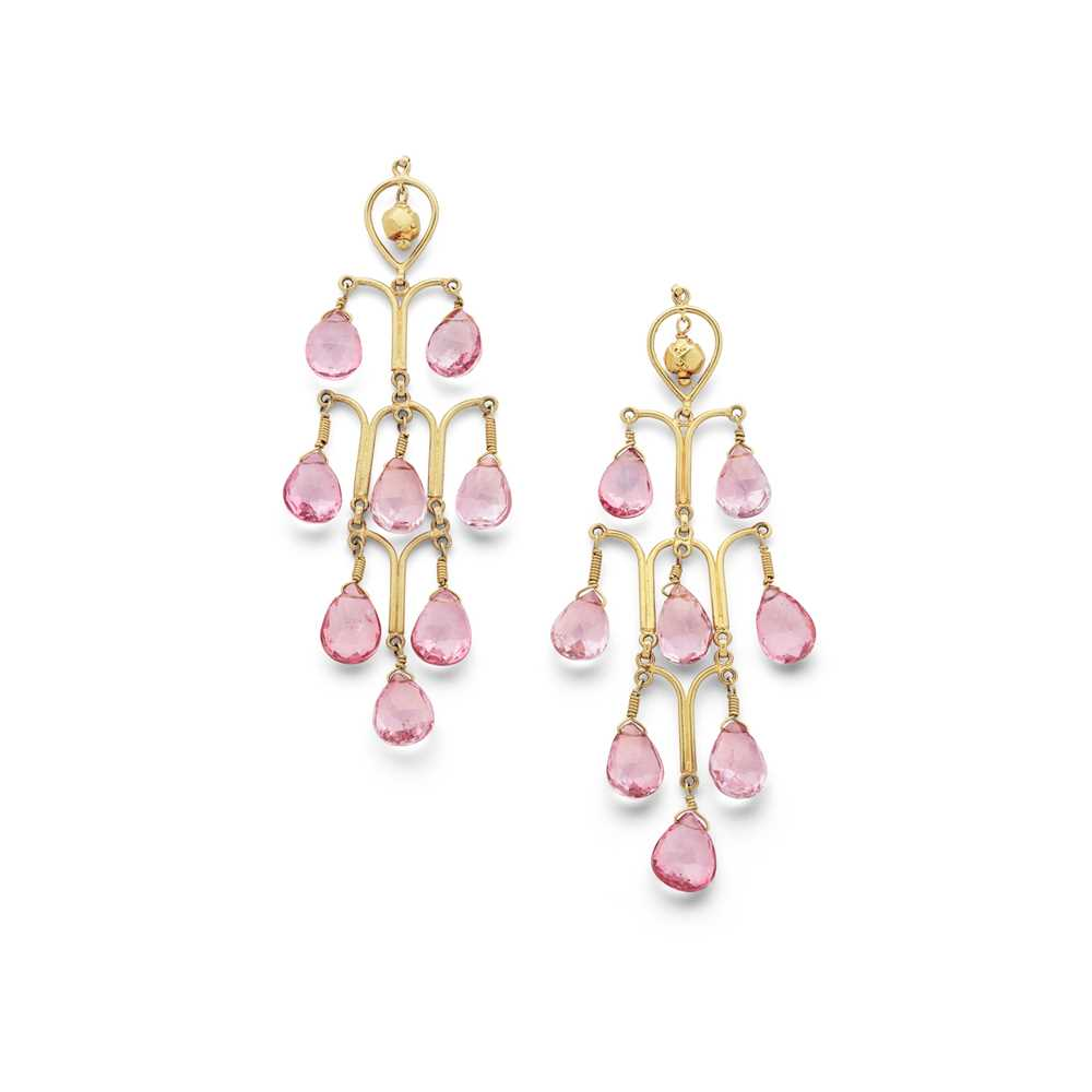 Lot 80 - A pair of pink tourmaline pendent earrings