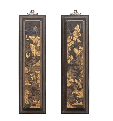 Lot 7 - PAIR OF BLACK LACQUER AND GILT-DECORATED PANELS
