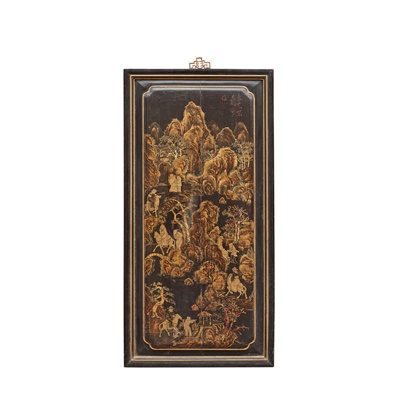 Lot 8 - BLACK LACQUER AND GILT-DECORATED PANEL