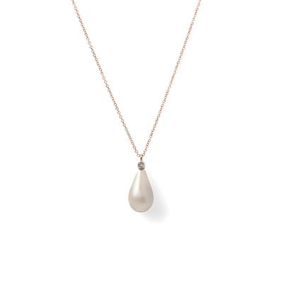 Lot 55 - A natural pearl and diamond set pendant