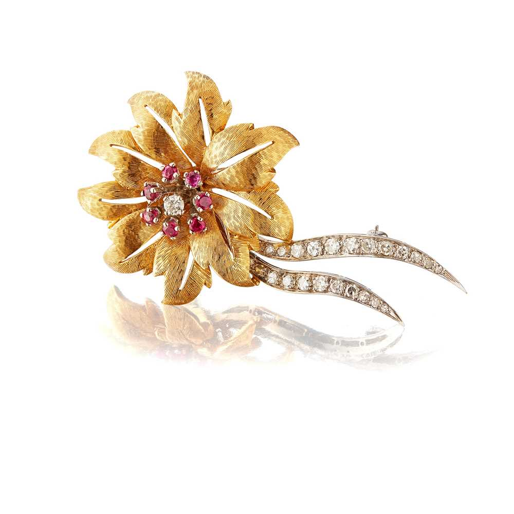 Lot 26 - A ruby and diamond flower brooch