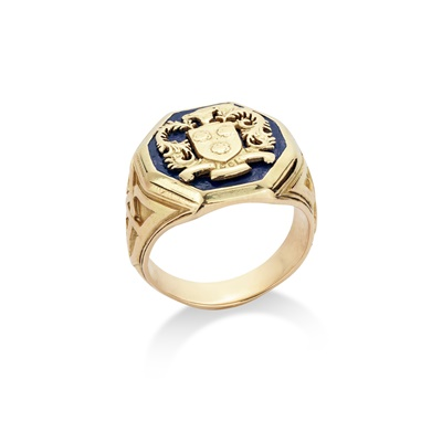 Lot 79 - An enamelled Westover school ring, by Tiffany & Co.