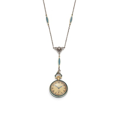 Lot 119 - An early 20th century enamel pendant watch, by Concord Watch Co., circa 1915