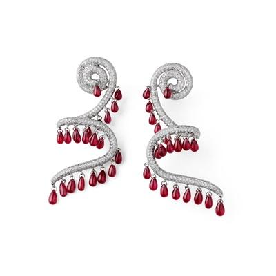 Lot 48 - A pair of ruby and diamond pendent earrings