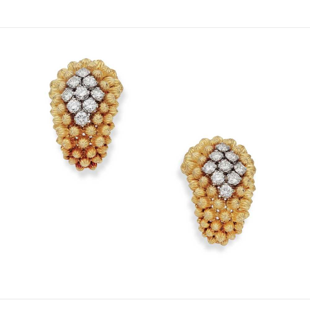 Lot 95 - A pair of diamond set earrings