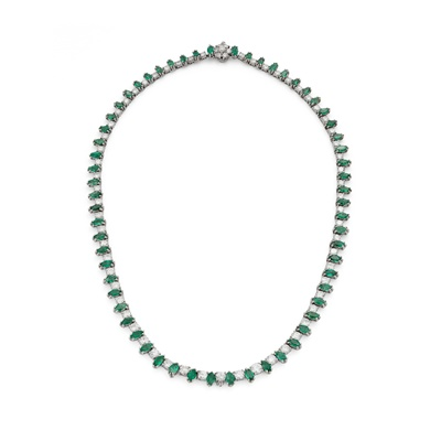 Lot 60 - An emerald and diamond line necklace