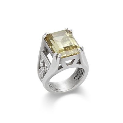 Lot 38 - A beryl and diamond set platinum ring, by Barry Kieselstein-Cord