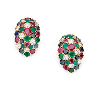 Lot 68 - A pair of diamond and gem-set earrings, by Van Cleef and Arpels, circa 1950s