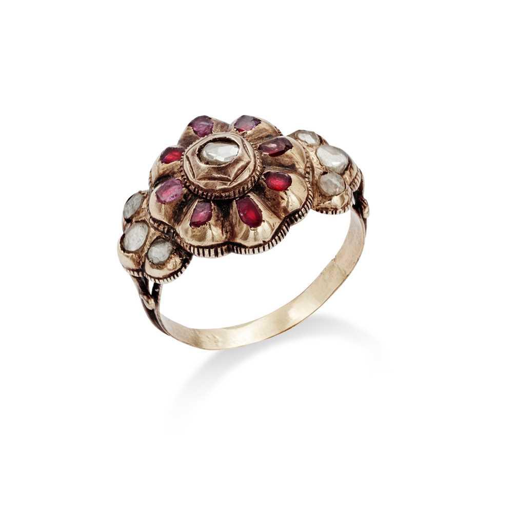 Lot 16 - An 18th century diamond and gem-set ring