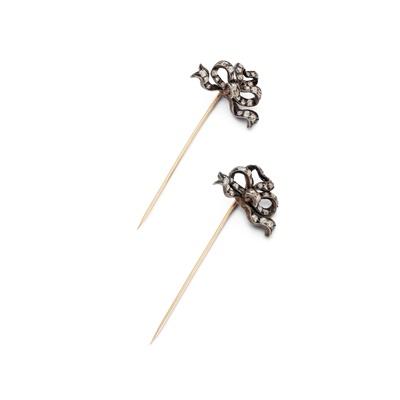 Lot 2 - A pair of late 19th century diamond-set bows