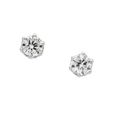 Lot 28 - A pair of diamond single-stone earrings
