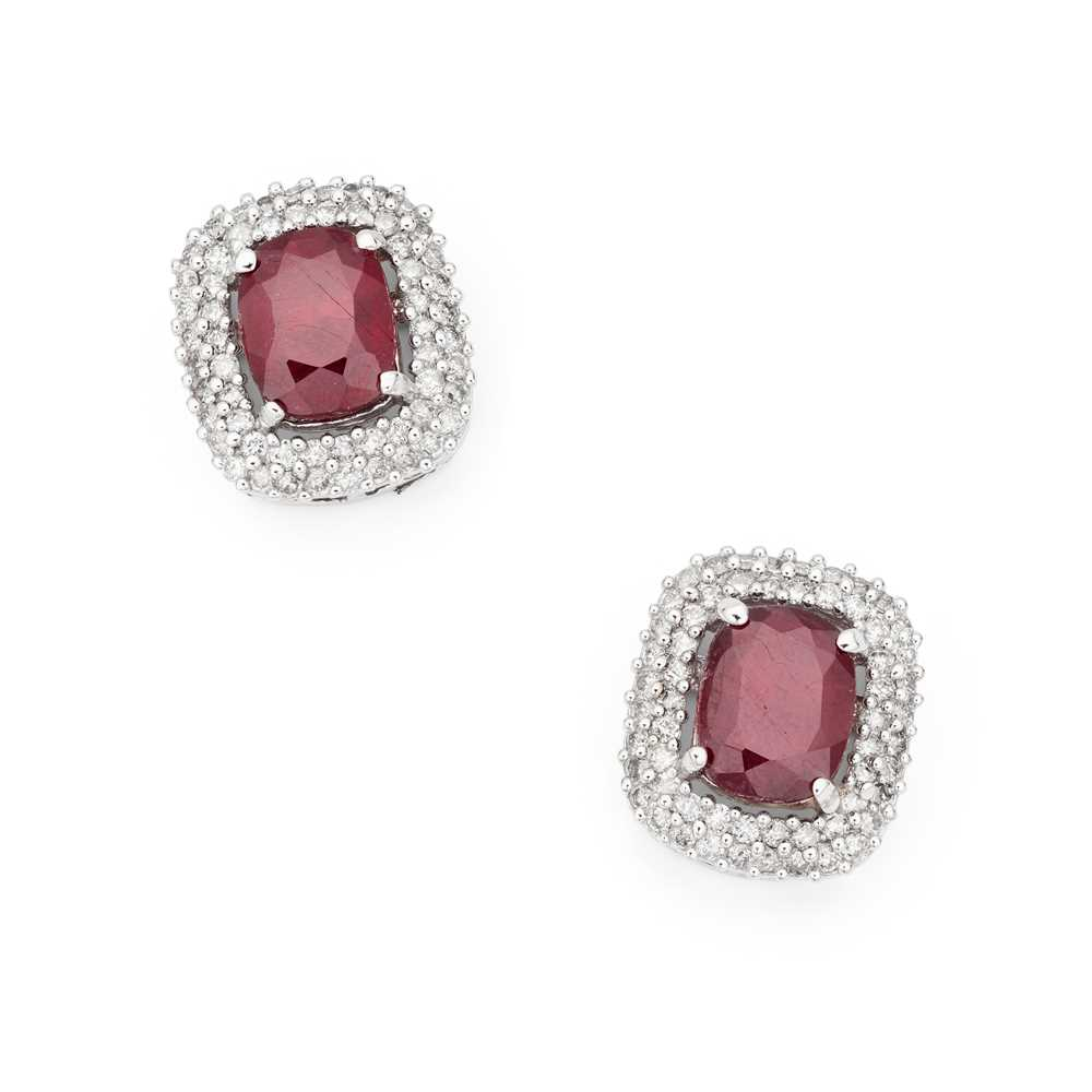 Lot 85 - A pair of ruby and diamond earrings