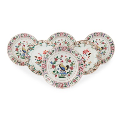Lot 184 - GROUP OF SIX FAMILLE ROSE PLATES